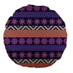 Colorful Winter Pattern Large 18  Premium Flano Round Cushions