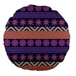 Colorful Winter Pattern Large 18  Premium Flano Round Cushions Front