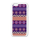Colorful Winter Pattern Apple iPhone 6/6S White Enamel Case Front