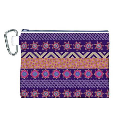 Colorful Winter Pattern Canvas Cosmetic Bag (L)