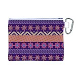 Colorful Winter Pattern Canvas Cosmetic Bag (L) Back
