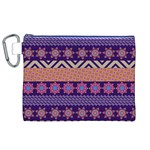 Colorful Winter Pattern Canvas Cosmetic Bag (XL) Front