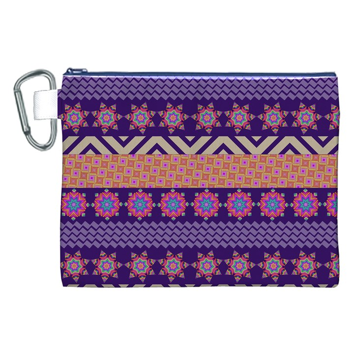 Colorful Winter Pattern Canvas Cosmetic Bag (XXL)