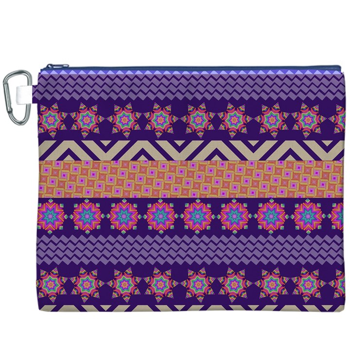 Colorful Winter Pattern Canvas Cosmetic Bag (XXXL)