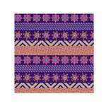 Colorful Winter Pattern Small Satin Scarf (Square)  Front
