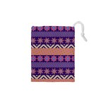 Colorful Winter Pattern Drawstring Pouches (XS)  Front