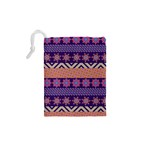 Colorful Winter Pattern Drawstring Pouches (XS)  Back