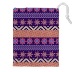 Colorful Winter Pattern Drawstring Pouches (XXL) Front