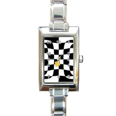 Dropout Yellow Black And White Distorted Check Rectangle Italian Charm Watch