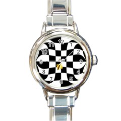 Dropout Yellow Black And White Distorted Check Round Italian Charm Watch