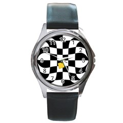 Dropout Yellow Black And White Distorted Check Round Metal Watch