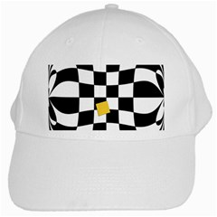 Dropout Yellow Black And White Distorted Check White Cap
