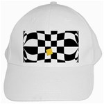 Dropout Yellow Black And White Distorted Check White Cap Front