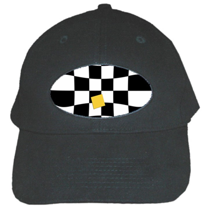 Dropout Yellow Black And White Distorted Check Black Cap