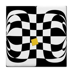 Dropout Yellow Black And White Distorted Check Tile Coasters