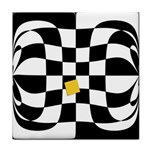 Dropout Yellow Black And White Distorted Check Tile Coasters Front