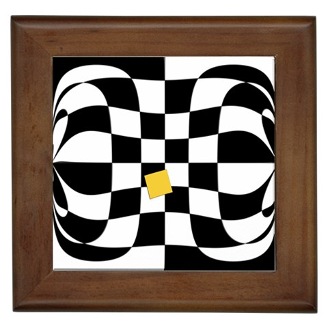 Dropout Yellow Black And White Distorted Check Framed Tiles