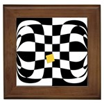 Dropout Yellow Black And White Distorted Check Framed Tiles Front