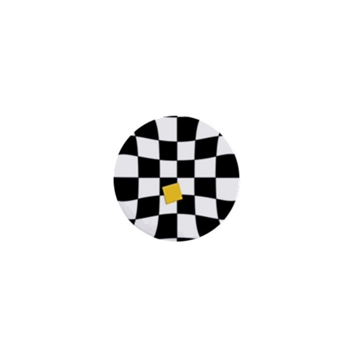Dropout Yellow Black And White Distorted Check 1  Mini Buttons