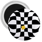 Dropout Yellow Black And White Distorted Check 3  Magnets Front