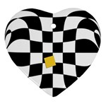 Dropout Yellow Black And White Distorted Check Ornament (Heart)  Front