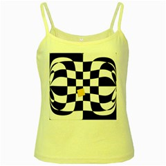 Dropout Yellow Black And White Distorted Check Yellow Spaghetti Tank
