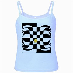 Dropout Yellow Black And White Distorted Check Baby Blue Spaghetti Tank