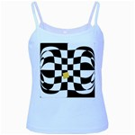 Dropout Yellow Black And White Distorted Check Baby Blue Spaghetti Tank Front