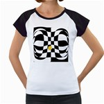 Dropout Yellow Black And White Distorted Check Women s Cap Sleeve T Front