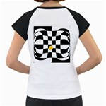 Dropout Yellow Black And White Distorted Check Women s Cap Sleeve T Back