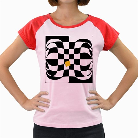 Dropout Yellow Black And White Distorted Check Women s Cap Sleeve T-Shirt