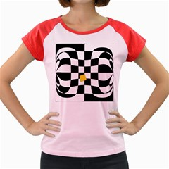 Dropout Yellow Black And White Distorted Check Women s Cap Sleeve T Shirt