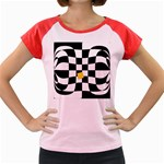 Dropout Yellow Black And White Distorted Check Women s Cap Sleeve T-Shirt Front
