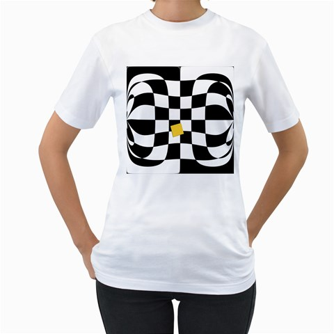 Dropout Yellow Black And White Distorted Check Women s T-Shirt (White) (Two Sided)