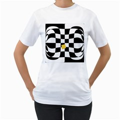 Dropout Yellow Black And White Distorted Check Women s T Shirt (white) (two Sided)