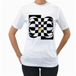 Dropout Yellow Black And White Distorted Check Women s T-Shirt (White) (Two Sided) Front