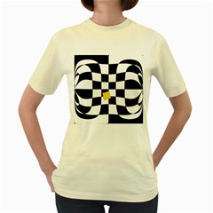 Dropout Yellow Black And White Distorted Check Women s Yellow T Shirt