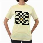 Dropout Yellow Black And White Distorted Check Women s Yellow T-Shirt Front