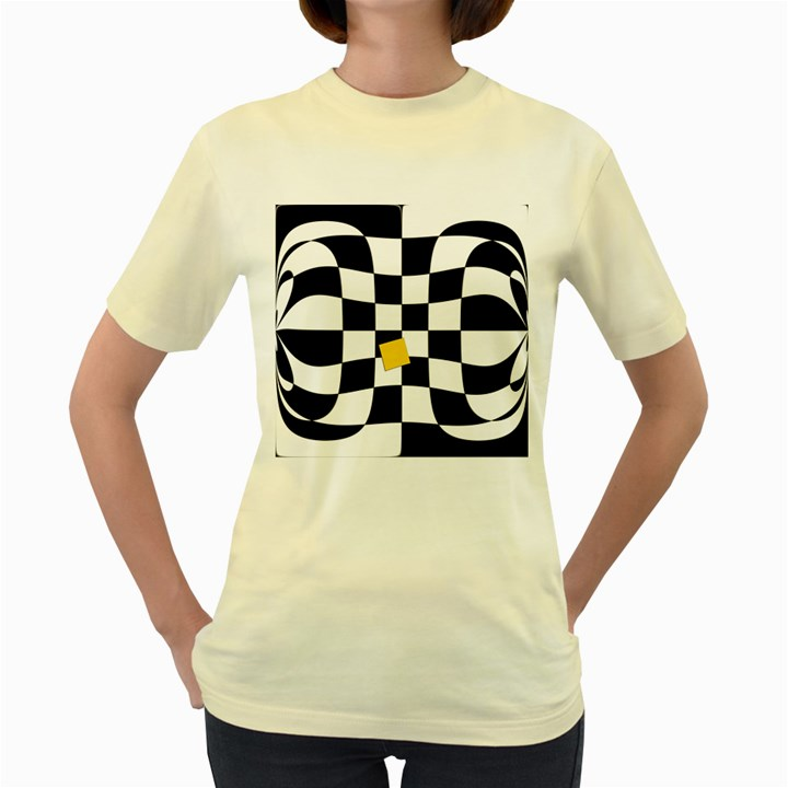 Dropout Yellow Black And White Distorted Check Women s Yellow T-Shirt