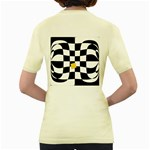Dropout Yellow Black And White Distorted Check Women s Yellow T-Shirt Back