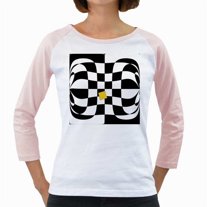 Dropout Yellow Black And White Distorted Check Girly Raglans