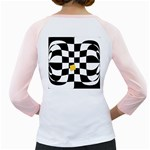 Dropout Yellow Black And White Distorted Check Girly Raglans Back