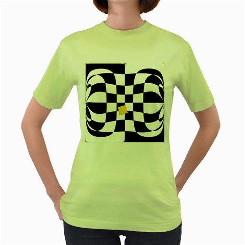 Dropout Yellow Black And White Distorted Check Women s Green T-Shirt