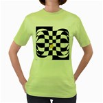 Dropout Yellow Black And White Distorted Check Women s Green T-Shirt Front