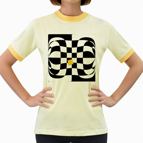 Dropout Yellow Black And White Distorted Check Women s Fitted Ringer T-Shirts