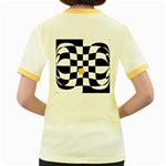 Dropout Yellow Black And White Distorted Check Women s Fitted Ringer T-Shirts Back