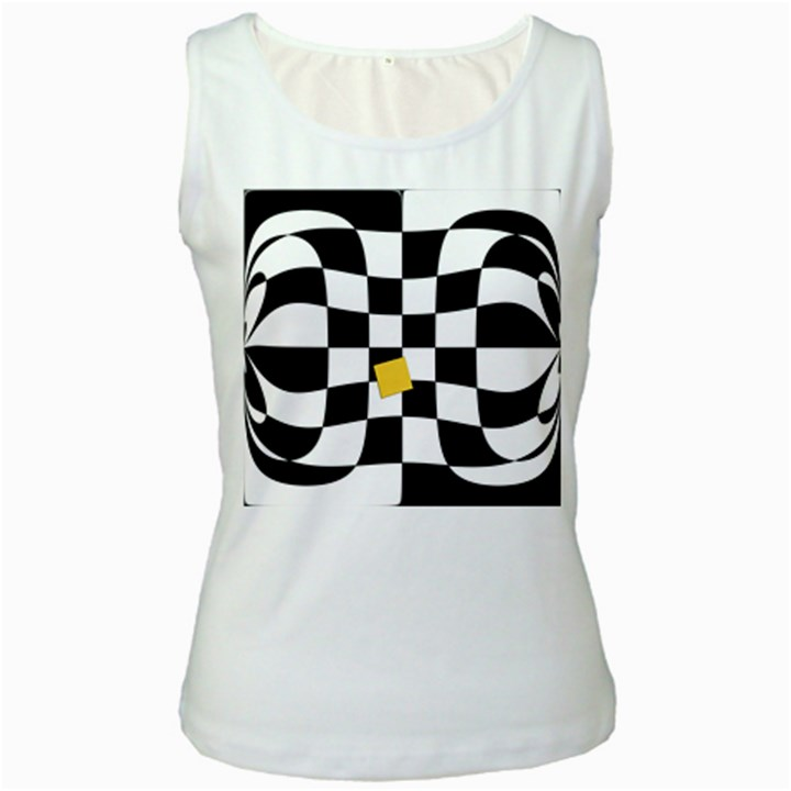 Dropout Yellow Black And White Distorted Check Women s White Tank Top
