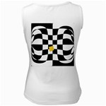 Dropout Yellow Black And White Distorted Check Women s White Tank Top Back