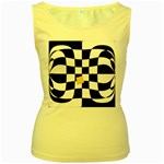 Dropout Yellow Black And White Distorted Check Women s Yellow Tank Top Front