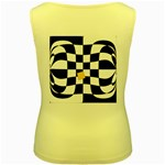 Dropout Yellow Black And White Distorted Check Women s Yellow Tank Top Back